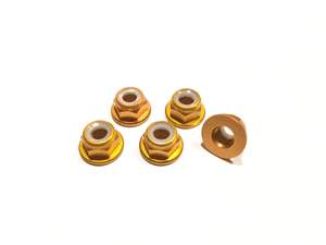 Gold Low Profile M5 Aluminum Nylocks CW (5pcs)
