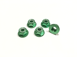 Green Low Profile M5 Aluminum Nylocks CW (5pcs)