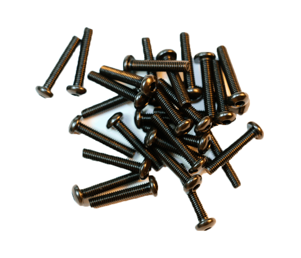 M3 Button Head Black Anodized Steel Bolts (10pcs Various Length)