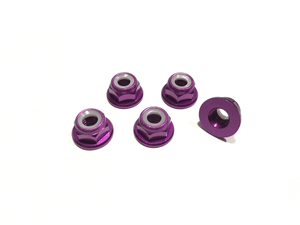 Purple Low Profile M5 Aluminum Nylocks CW (5pcs)